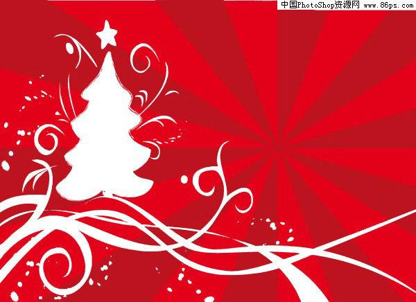 ai格式两款白色涂鸦圣诞树ai矢量素材免费下载