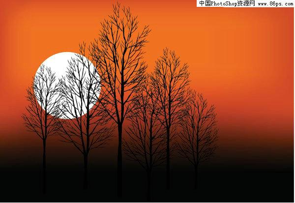 eps格式日落时的树木剪影矢量素材免费下载