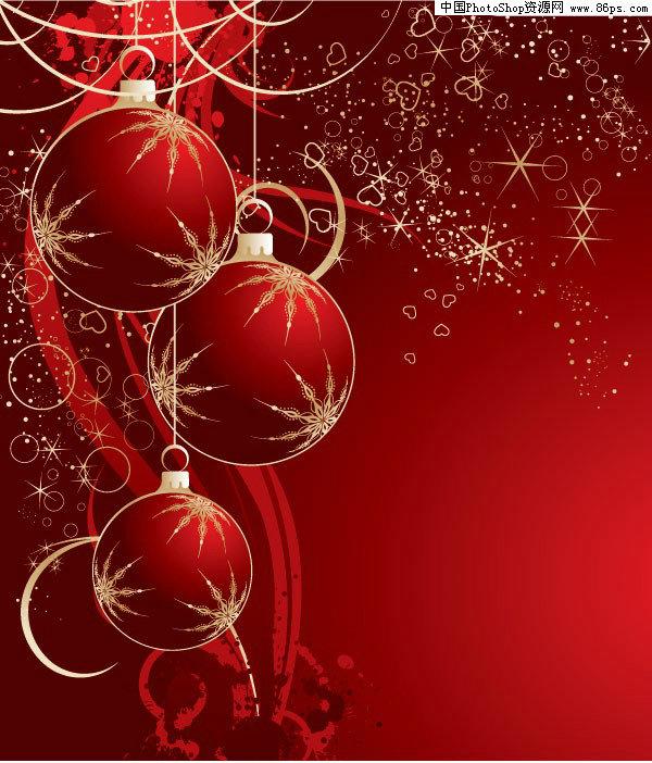 eps格式红色圣诞挂球矢量素材免费下载