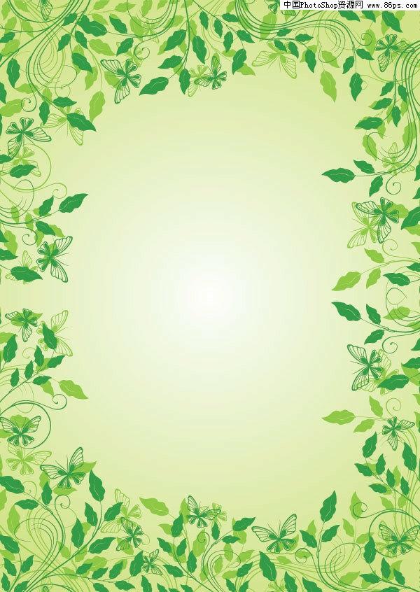 eps格式一款漂亮的绿叶花边矢量素材免费下载