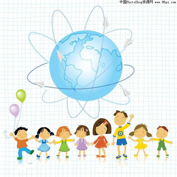 关键字:人物,六一,儿童节,云朵,小朋友,儿童,汽车,地球,气球,手拉手