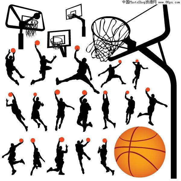 eps格式一组篮球动作剪影及篮球架矢量素材免费下载