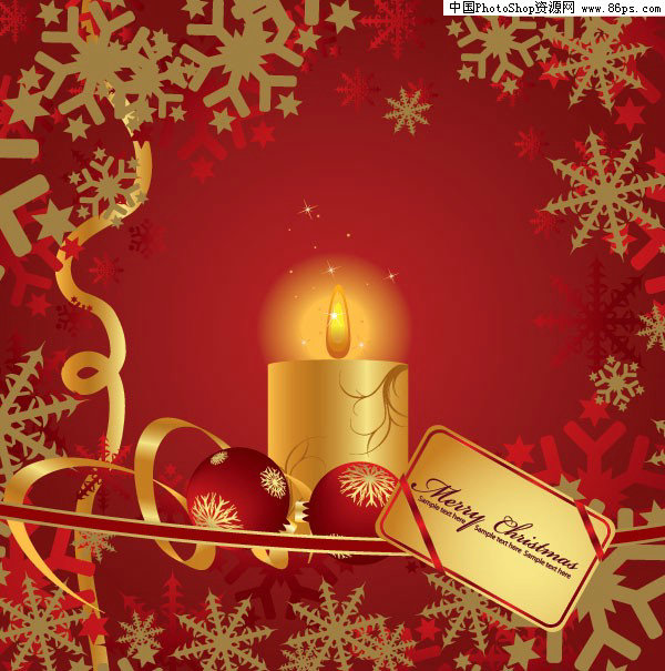 eps格式3款红色圣诞节蜡烛矢量素材免费下载