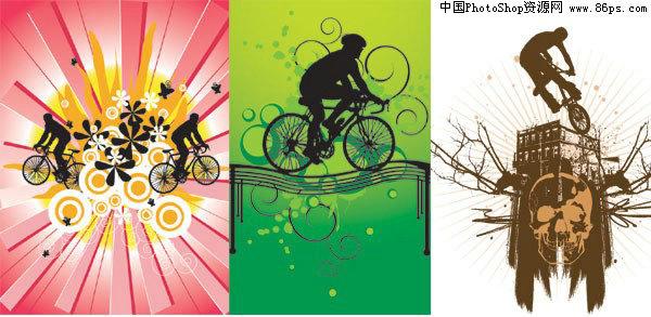eps格式,含jpg预览图,关键字:运动矢量素材,单车,自行车,骷髅头,小桥