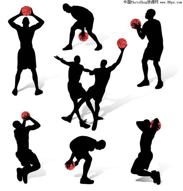 eps格式一组篮球动作人物剪影矢量素材免费下载