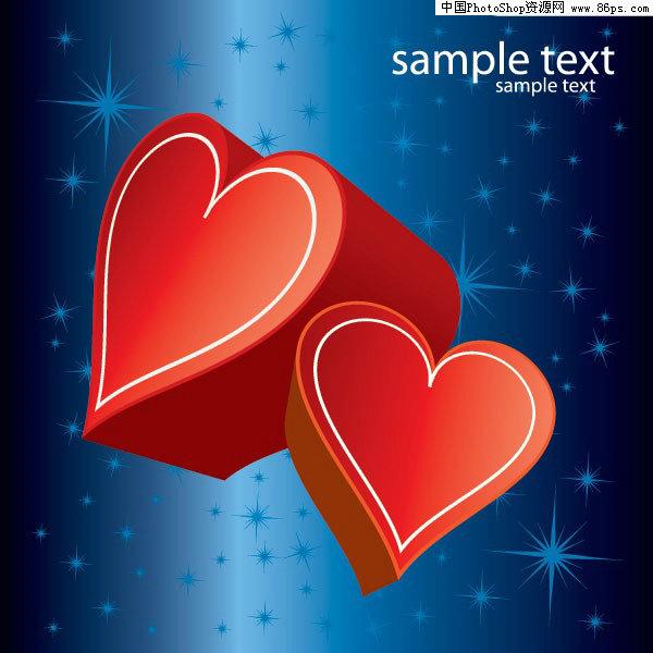 eps格式蓝色背景红色立体桃心矢量素材免费下载