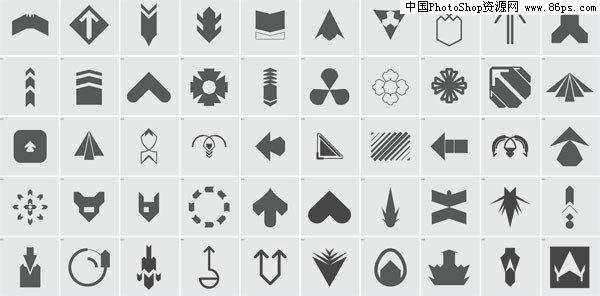 eps格式50个黑白eps格式矢量箭头素材集免费下载
