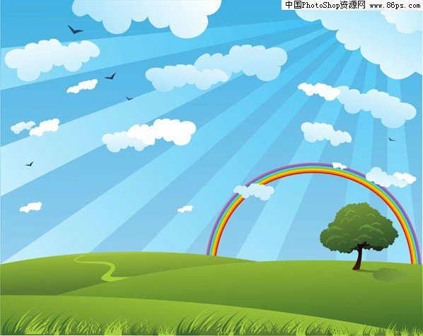 可爱的云朵潮流矢量彩虹的背景材料