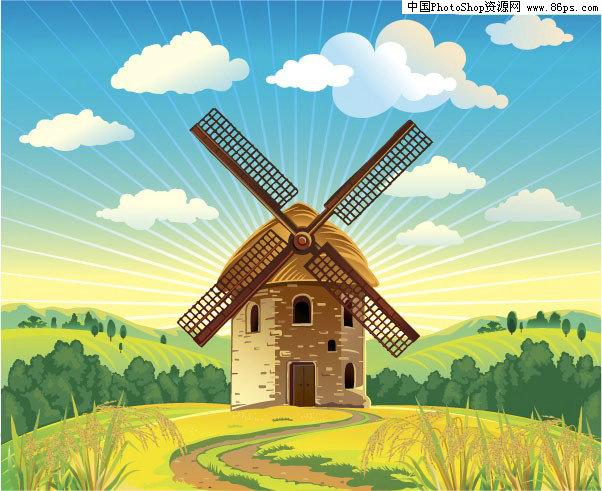 荷兰风车图片_荷兰风车动态图片_荷兰风车图片简笔画