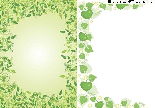 eps格式2款绿色花边矢量素材免费下载