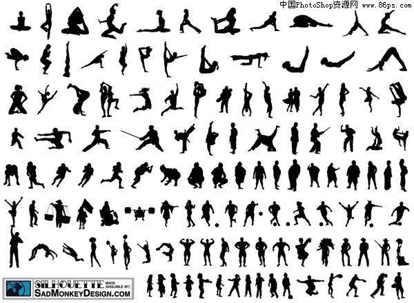 含jpg预览图,关键字:人物剪影,运动,击剑,武术,体操,足球,矢量素材.