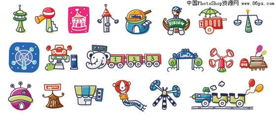 ai格式韩国游乐园卡通矢量元素免费下载图片