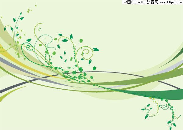 ai格式绿色动感线条与时尚花纹矢量素材免费下载