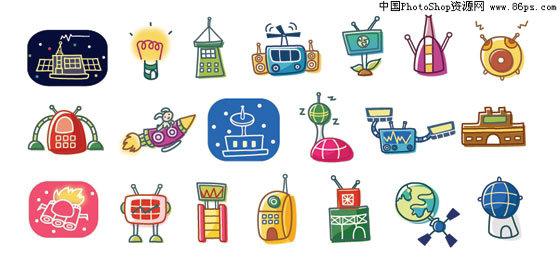 韩国不同行业卡通设计元素矢量素材; 韩国科学幻想卡通矢量元素
