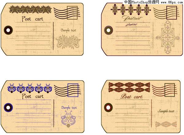 eps格式怀旧风格欧式明信片模板矢量素材免费下载