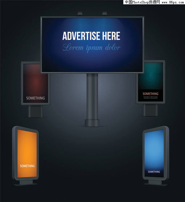 eps格式户外广告牌夜间效果矢量图免费下载