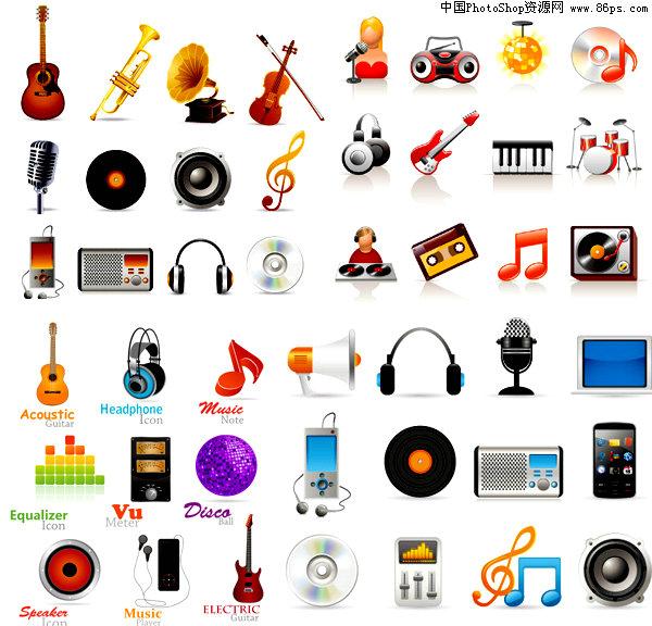 >> 素材信息  eps格式音乐元素图标矢量素材免费下载 eps格式,含jpg图片