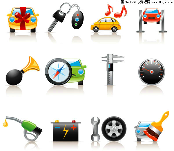 eps格式汽车相关图标矢量素材免费下载