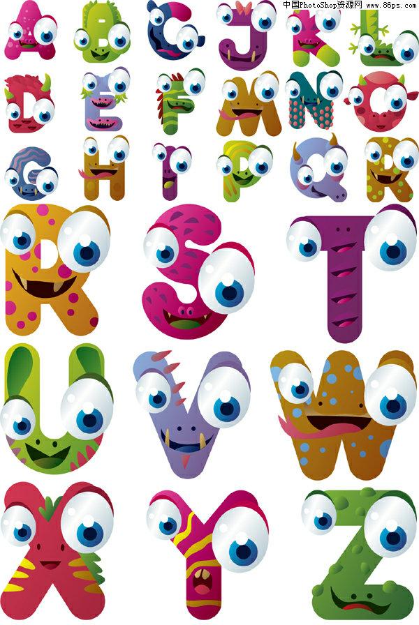 英文字母,卡通,可爱