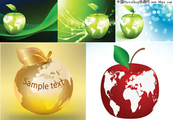 eps格式环保主题苹果与地球矢量素材免费下载 [中国网