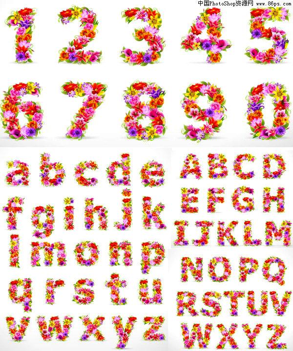 关键字:矢量字母,数字,英文字母,阿拉伯数字,花卉,花朵,花体字,艺术字