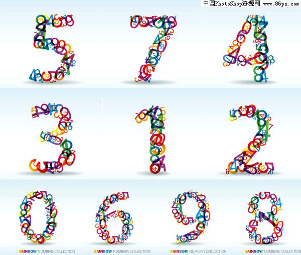 关键字:矢量字体,数字,阿拉伯数字,叠加,五颜六色,个性数字,矢量素材.