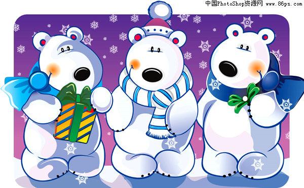 ai格式圣诞主题可爱卡通熊矢量素材免费下载