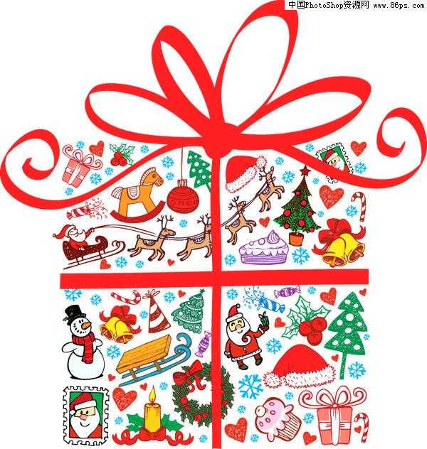 eps格式可爱卡通圣诞礼盒矢量素材免费下载