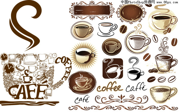 eps格式欧式风格咖啡主题元素矢量素材免费下载图片