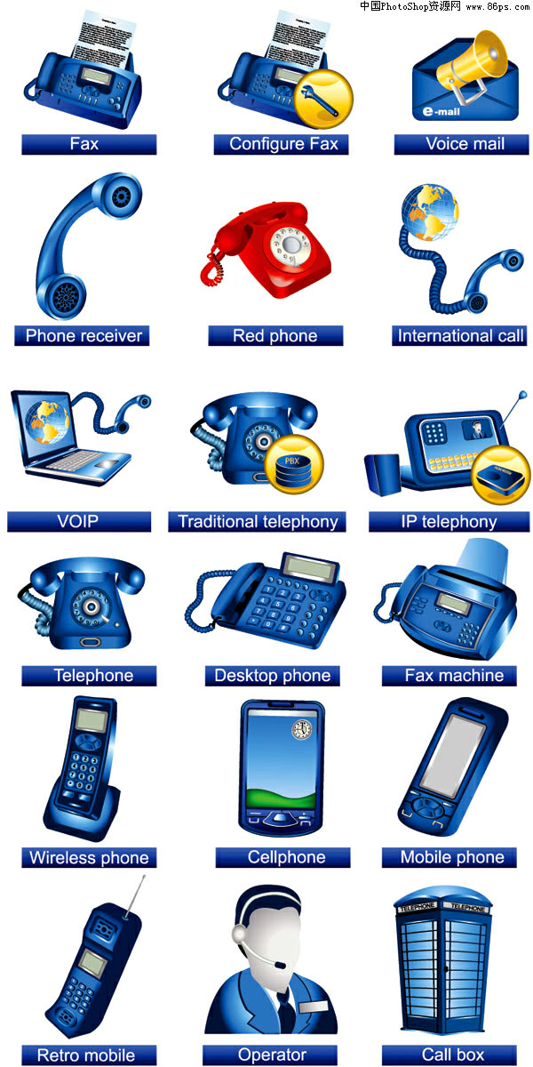 eps格式精致通讯工具图标矢量素材免费下载