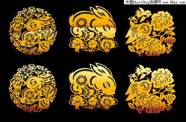 关键字:矢量剪纸,中国风,兔年,2011年,精美,传统,古典,兔子,植物花卉