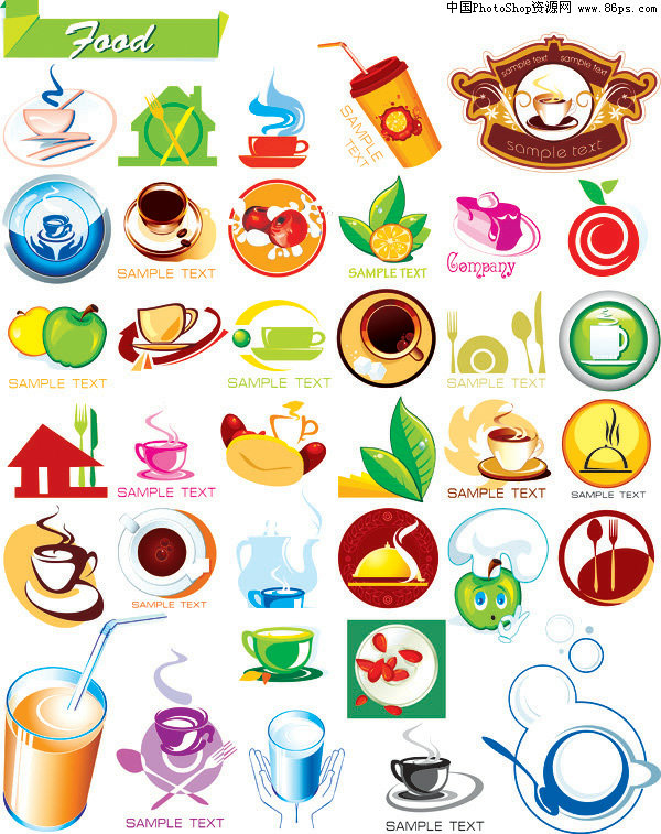 eps格式,含jpg预览图,关键字:矢量图标,饮食,饮品,食品,咖啡,蛋糕