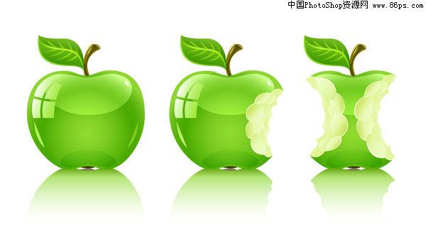eps格式水晶青苹果矢量素材免费下载