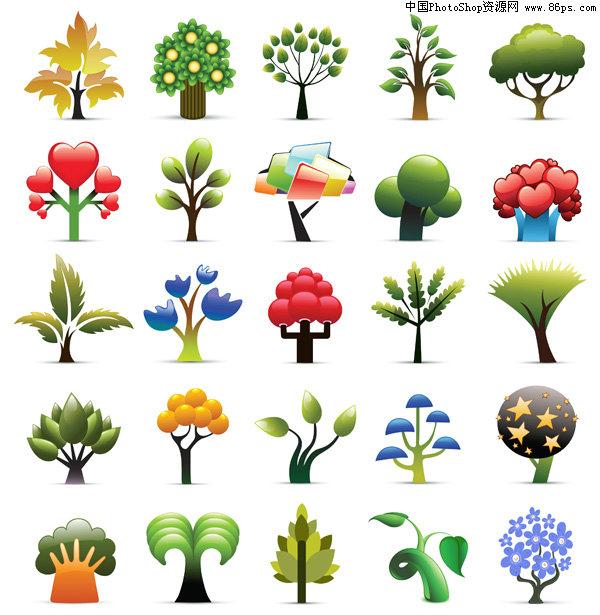 EPS格式多款可爱抽象树木图标矢量素材免费下载图片