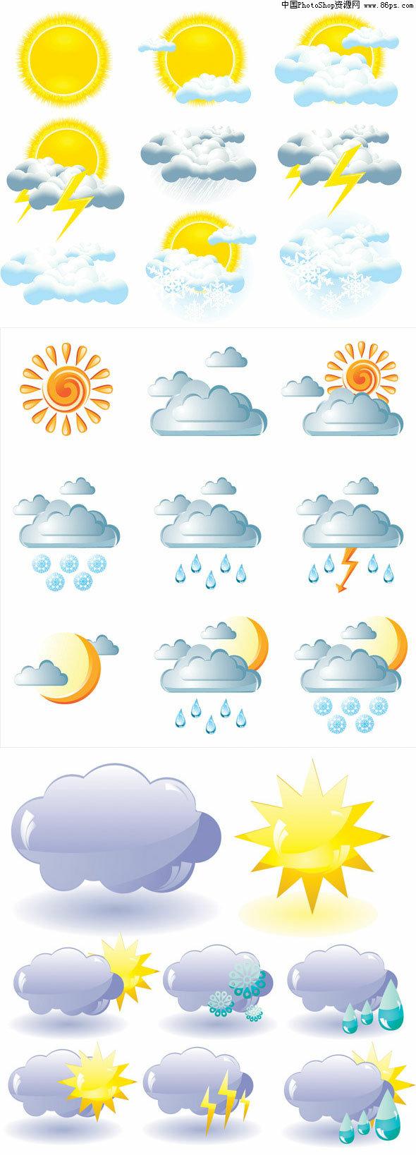 eps格式各种天气预报图标矢量素材免费下载