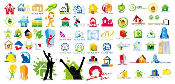 eps素材 房子主题logo图形矢量素材,小房子,格子,图形,手势,点击,伸腰