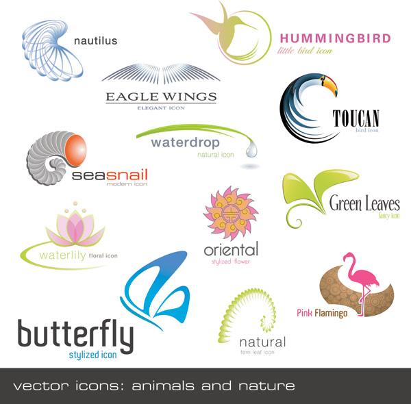动物植物形状logo.eps素材