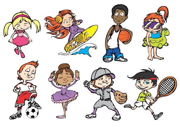 矢量运动人物.玩篮球羽毛球的可爱卡通运动人物.eps素材