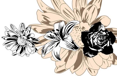 矢量花草树木.矢量黑白花卉.eps素材.ai素材