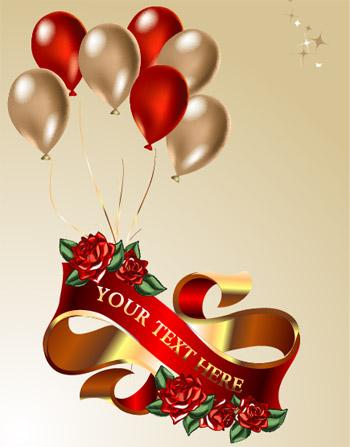 矢量绸带幕布.气球丝带玫瑰花.eps素材
