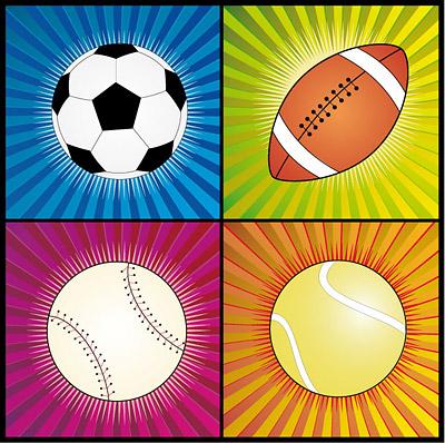 矢量体育运动.4款球矢量.eps素材