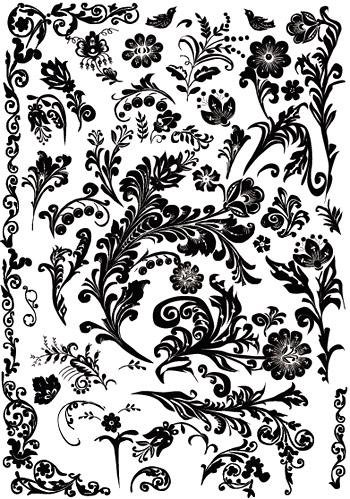 矢量花纹.实用黑白粗花纹.eps素材