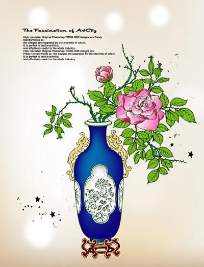 矢量花纹.矢量牡丹花瓶.ai素材