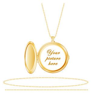 矢量珠宝首饰.金色相片吊坠.eps素材
