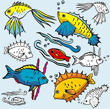 矢量卡通动物.各种卡通鱼类.ai素材