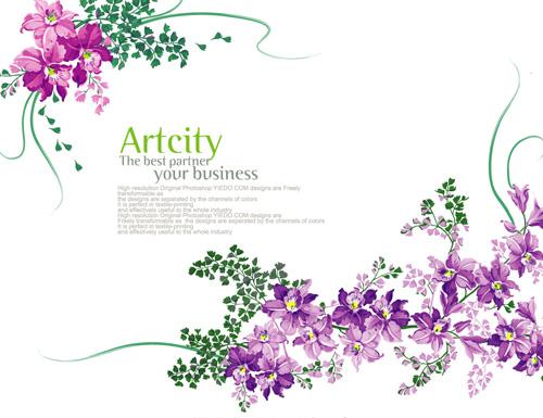 矢量花草树木.矢量紫色花纹.ai素材