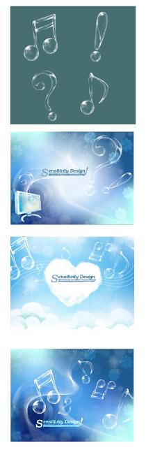 ai素材 透明音符与梦幻背景矢量素材,ai格式,矢量音符,天空,云朵组成
