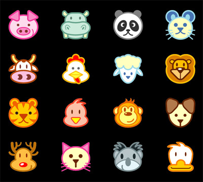 矢量卡通动物.可爱动物头像.ai素材
