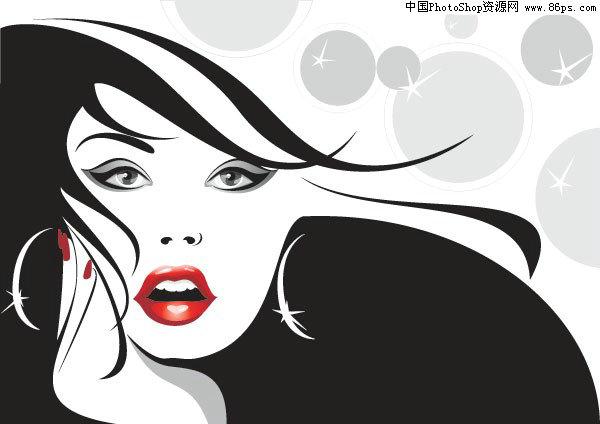 eps格式两款美女头像矢量素材免费下载 [中国资源网||