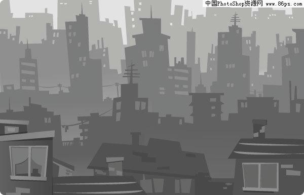 eps格式一款灰色城市建筑剪影矢量素材免费下载